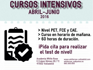 Cursos Intensivos abril-junio. Test de nivel.